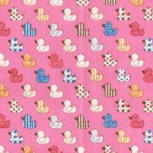 60% OFF Cotton Little Pink Duck Print Fabric x 0.5m